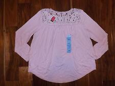NWT Womens Philosophy Chalk Pink Crochet Top Long Sleeve Shirt Size XL $68