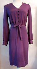 Elegant TULEH Purple Silk Dress w/Sash Waist - Sz 4