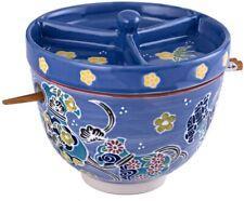 Japanese Ceramic Ramen Udon Bowl w/ Chopsticks, Condiment Lid 6