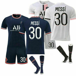 PSG Messi #30 for Kids Football Kits Soccer Jersey Training T-shirt Suit 21/22