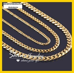 18K YELLOW GOLD FILLED FLAT RING CURB CHAIN MEN SOLID 16-30INCH ITALIAN NECKLACE