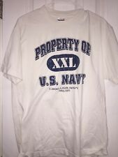 Vintage Property Of U.S. Navy Large White T-Shirt Military Navy.com 80s 90s