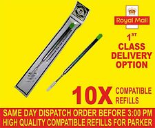 QUALITY 10 X PARKER COMPATIBLE BROAD REFILLS FOR BALLPOINT MEDIUM  GREEN COLOUR