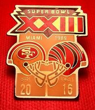 Vintage NFL Super Bowl XXIII (23) Starline Collector Set Pin: 49ers vs Bengals