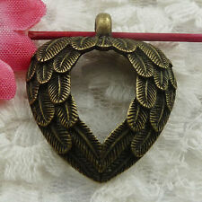 Free Ship 21 pieces bronze plated wing heart pendant 31x26mm #752
