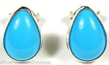 10x7mm Sleeping Beauty Turquoise 925 Sterling Silver Teardrop Stud Earrings