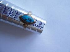 Bague argent turquoise poinçonné forme l'œil taille 50 vieillie stock ancien