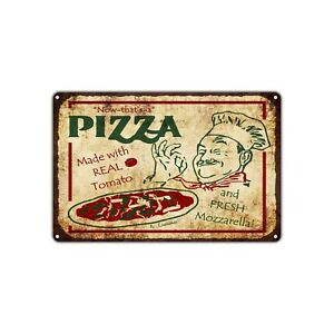 Pizza Made With Real Tomato Decor Art Shop Man Cave Bar Vintage Retro Metal Sign