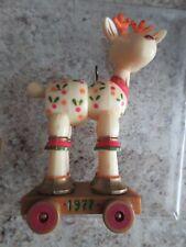 Vintage Hallmark Yesteryears 1977 Reindeer Pull Toy Xmas Ornament #173-5 New