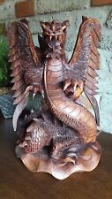 Drache geschnitzt Deko Skulptur Feuer Monster Tier Kunst Handarbeit Bali