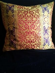 """Luxury red gold and purple designer cushion cover  large 25"""" x 25"""""""