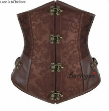 STEAMPUNK Brown Brocade Gothic Lace Up Boned Steampunk Underbust Corset