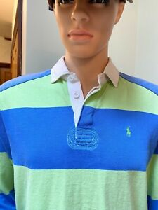 Mens Ralph Lauren  Rugby Polo shirt Small Green Blue  Great Condition