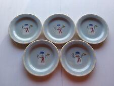 Hartstone Pottery Snow People Snowman Blue Christmas Salad Plates 7 7/8 ( 5 )