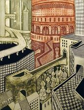 """John Ross """"Coliseum"""" Signed Numbered Collagraph Art Print city ancient buildings"""