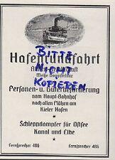KIEL, Werbung 1922, Hafen-Rund-Fahrt AG Weiße Schlepp-Dampfer-Linie Ostsee Elbe