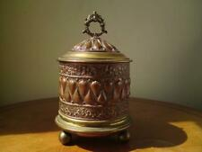 Antique Victorian Art Nouveau Copper & Brass Tobacco Jar Tea Caddy on Ball Feet