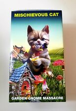 """New listing Mischievous Cat Garden Gnome Figurine Best 9.5"""" Resin Cat with Gnome"""
