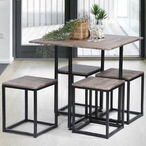 Tavolo con 4 Sgabelli a Scomparsa Sala da Pranzo Salotto Cucina Design Moderno