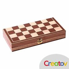 Chess Set Board Game Checkers Backgammon Kid Adult Wooden Folding Travel Classic