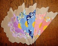 Vintage Lot of 5 Grandmother's Flower Garden Quilt Blocks 1930-40's