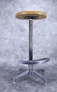 Vintage Architectural Modern Chrome and Wood Barstool Chair