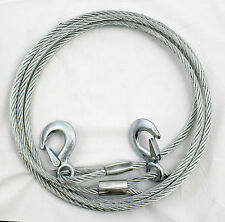 Heavy Duty Steel Wire Tow Rope with Locking carabiner Hooks 4 Metres Long 3 Ton