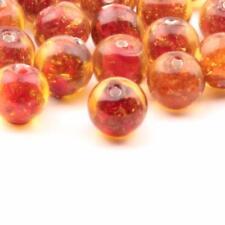 (28) 8mm vintage Czech lampwork aventurine goldstone orange amber glass beads