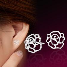 Pendiente de tono de plata rosa flor pendientes