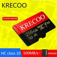 KRECOO Memory Card 256GB 128GB 64GB 100MB/S Class10 Flash TF Card&Adapter&Camera