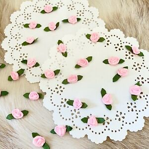 Tiny Pink Roses,Ribbon Roses,Mini Roses,Fabric Flowers,Applique,Small Roses Leaf