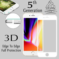 iPhone 8 White Gorilla Tech Brand Screen Protector Tempered Glass 5D Full Cover