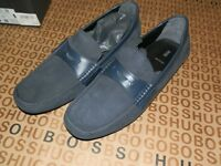 HUGO BOSS MERCEDES F1 BLUE SUEDE LEATHER DRIVING MOCS SHOES SLIP ON 11 46 £295