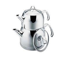 Korkmaz A105 Provita Maxi Stainless Steel Turkish Tea Pot Set Caydanlik 3.1 lt