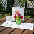 Tulips Flowers 3D Pop Up Greeting Card Christmas Birthday New Year Invitation