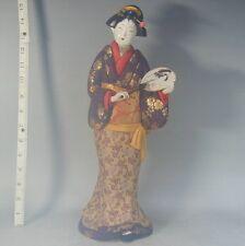 Kimekomi Geisha Doll #792 Silk Kimono Gofun Edo Woman Lady Ningyo Japanese Japan