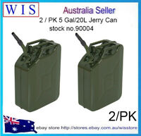 2/PK 20L Jerry Can Green Steel Gasoline Gas Fuel Tank w Pouring Spout,0.8mm(T)
