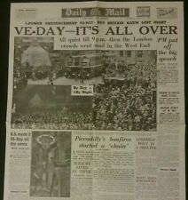 """DAILY MAIL TUES 8th MAY 1945 , VE-DAY - """"IT'S ALL OVER""""  (4 pages)  WORLD WAR II"""