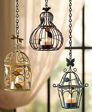 Blue Brown Green Hanging LED Tea Light Holders Metal Caged Shape 3 Votive Holder