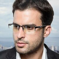 Mens Pure Titanium Eyeglass Frames Designer Glasses Half Rimless Flexible Sporty
