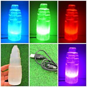 1 Selenite Crystal 15cm LED Mountain Tower Obelisk Stand Colour Lamp Light UK✔