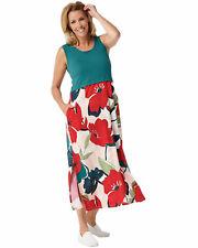 Cuddl Duds Womens Flexwear Maxi Dress Large Emerald/Floral A346882