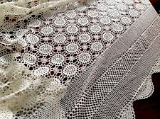 Vintage Hand Crochet Cream Cotton Bed Cover Table Cloth Throw 100x90 Inches