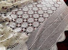 VINTAGE HAND Crochet Crema Cotone Bed Copri Tovaglia Buttare 100x90 pollici