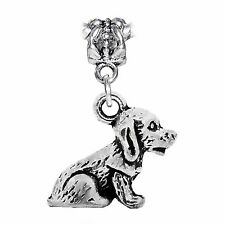 Dog Puppy Doggy Pet Animal 3D Dangle Charm for Silver European Bead Bracelets