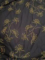 Ikea  Full/Queen Duvet Cover Bedding Cotton Navy Blue Gold floral  2-side EUC