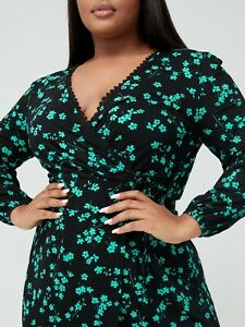 Printed Jersey Wrap Dress, Floral Print, V by Very Curve (green on black, QRYU9)
