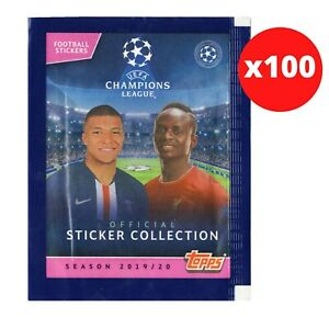 TOPPS CHAMPIONS LEAGUE 19/20 100 PACKS OF 5 STICKERS PER PACK