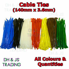 Cable Ties Black White Blue Brown Green Red Yellow Tie Wraps Wrap 140mm x 3.6mm