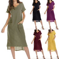 Womens Linen Cotton Summer Loose Long Midi Dress Casual Short Sleeve Sun Dresses